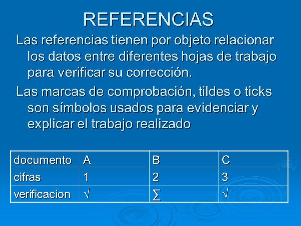 REFERENCIAS Las referencias tienen por objeto relacionar los datos entre diferentes hojas de trabajo para verificar su corrección. Las marcas de compr