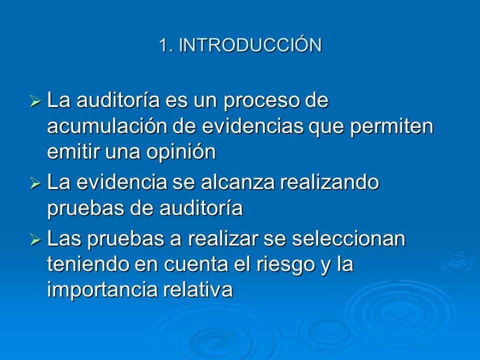 1. INTRODUCCIÓN La auditoría es un proceso de acumulación de evidencias que permiten emitir una opinión La auditoría es un proceso de acumulación de e