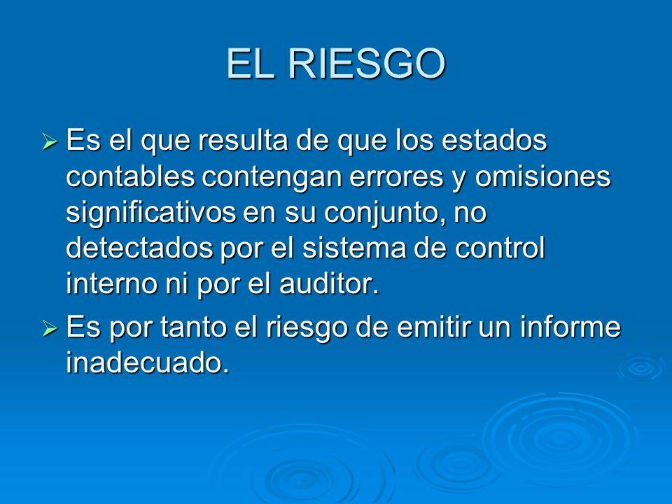 EL RIESGO Es el que resulta de que los estados contables contengan errores y omisiones significativos en su conjunto, no detectados por el sistema de