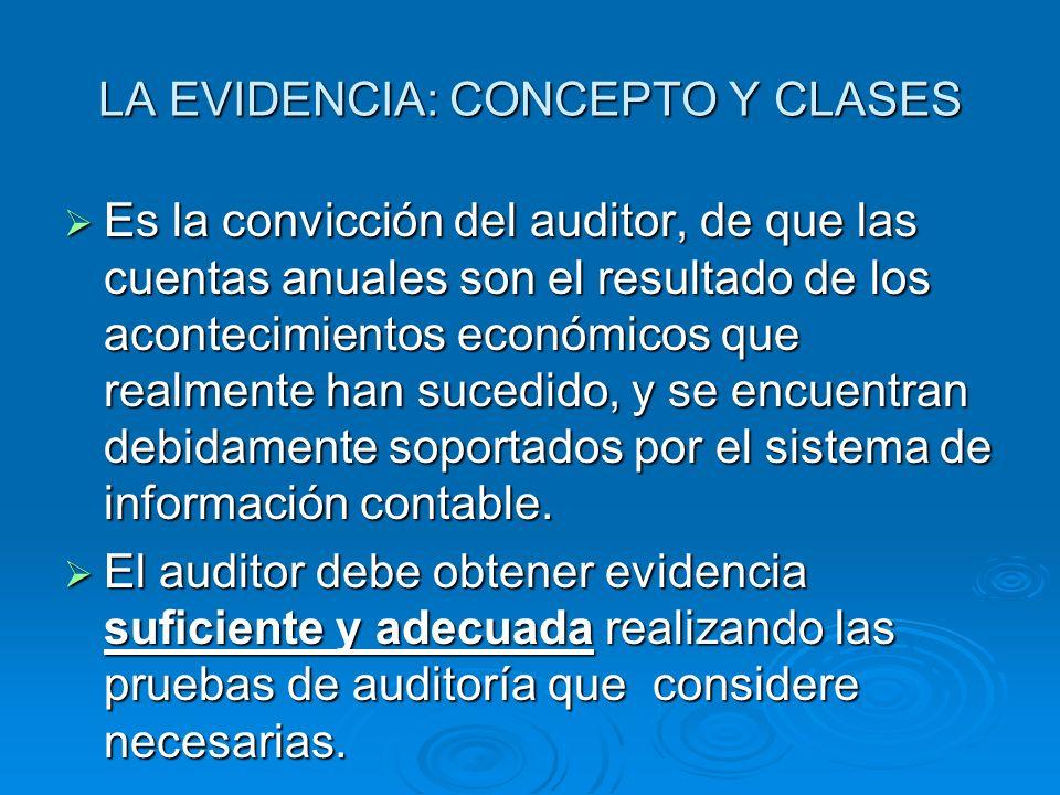 LA EVIDENCIA: CONCEPTO Y CLASES Es la convicción del auditor, de que las cuentas anuales son el resultado de los acontecimientos económicos que realme