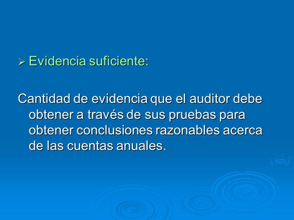 Evidencia suficiente: Evidencia suficiente: Cantidad de evidencia que el auditor debe obtener a través de sus pruebas para obtener conclusiones razona