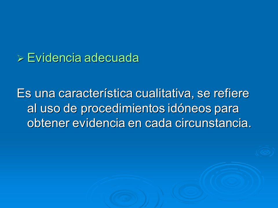 Evidencia adecuada Evidencia adecuada Es una característica cualitativa, se refiere al uso de procedimientos idóneos para obtener evidencia en cada ci