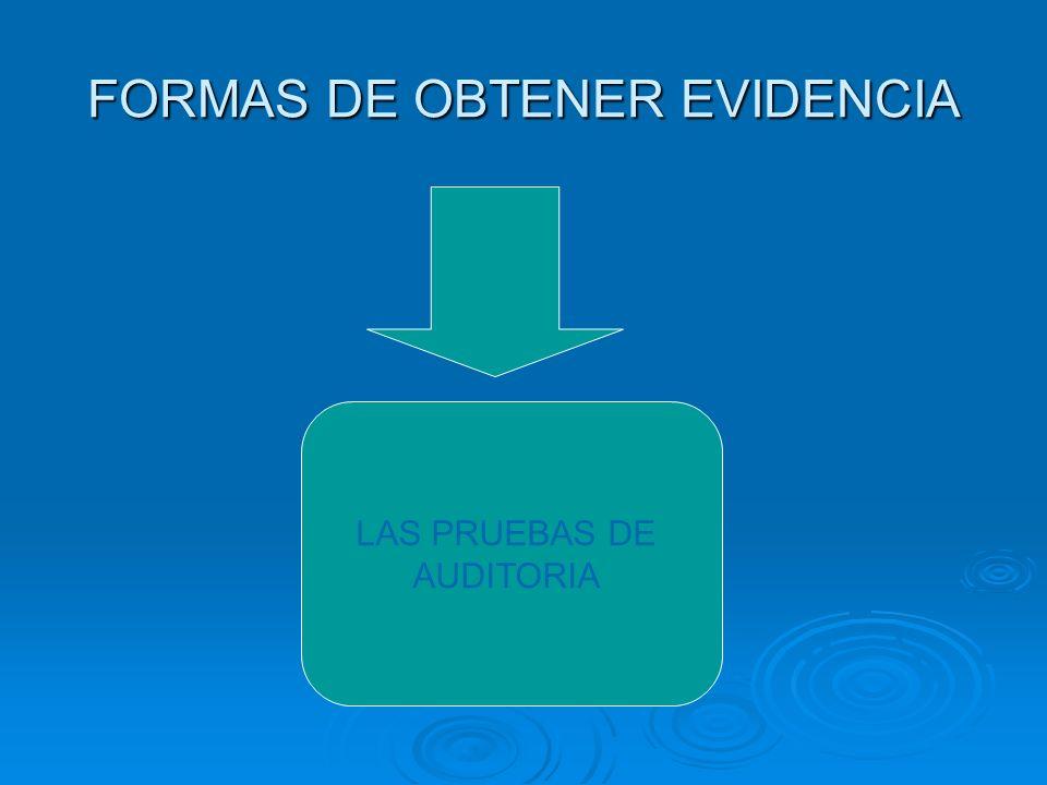 FORMAS DE OBTENER EVIDENCIA LAS PRUEBAS DE AUDITORIA