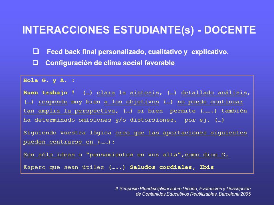 II Simposio Pluridisciplinar sobre Diseño, Evaluación y Descripción de Contenidos Educativos Reutilizables, Barcelona 2005 INTERACCIONES ESTUDIANTE(s)