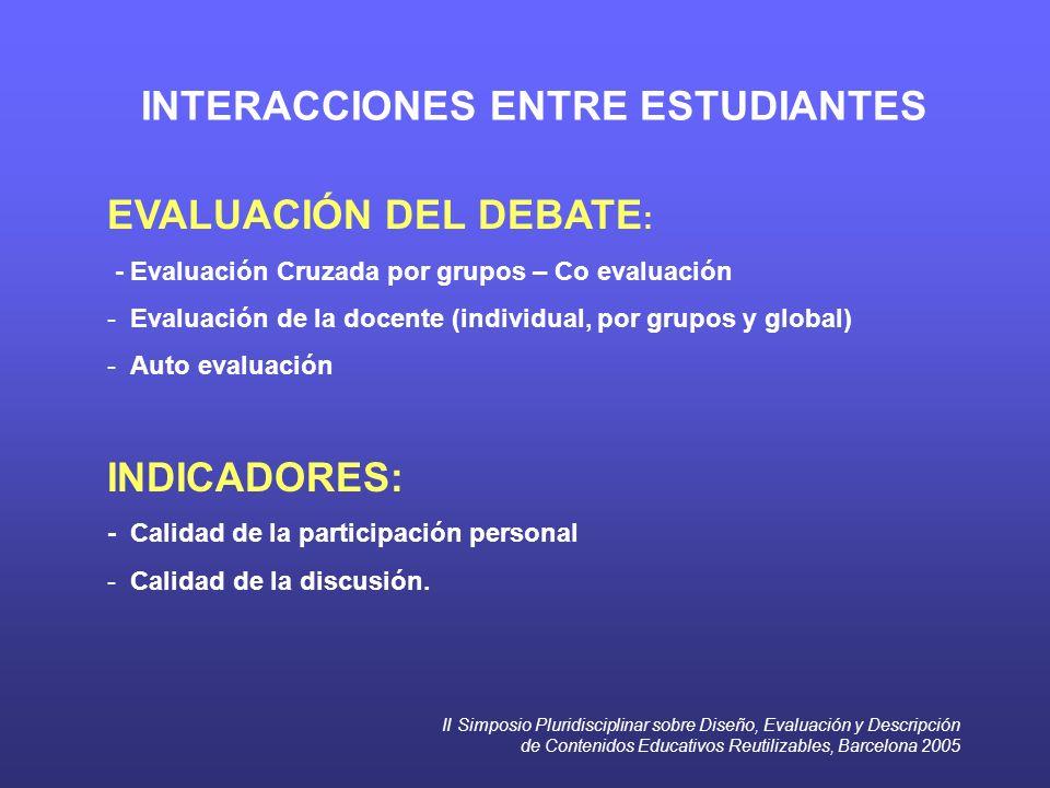 II Simposio Pluridisciplinar sobre Diseño, Evaluación y Descripción de Contenidos Educativos Reutilizables, Barcelona 2005 INTERACCIONES ENTRE ESTUDIANTES EVALUACIÓN DEL DEBATE : - Evaluación Cruzada por grupos – Co evaluación - Evaluación de la docente (individual, por grupos y global) - Auto evaluación INDICADORES: - Calidad de la participación personal - Calidad de la discusión.