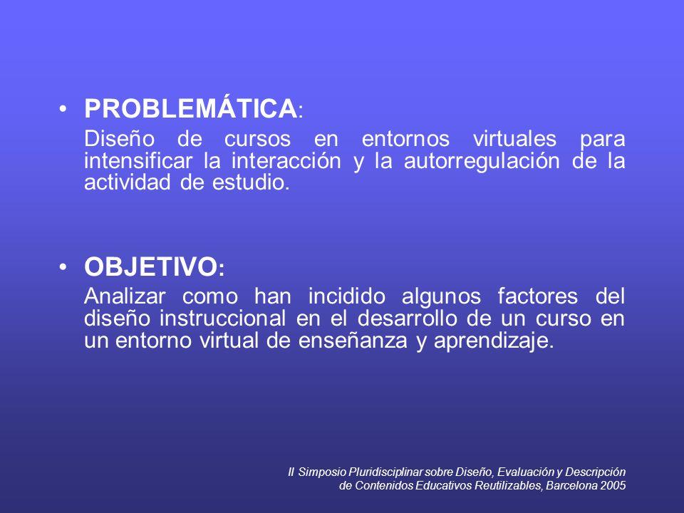 II Simposio Pluridisciplinar sobre Diseño, Evaluación y Descripción de Contenidos Educativos Reutilizables, Barcelona 2005 PROBLEMÁTICA : Diseño de cursos en entornos virtuales para intensificar la interacción y la autorregulación de la actividad de estudio.