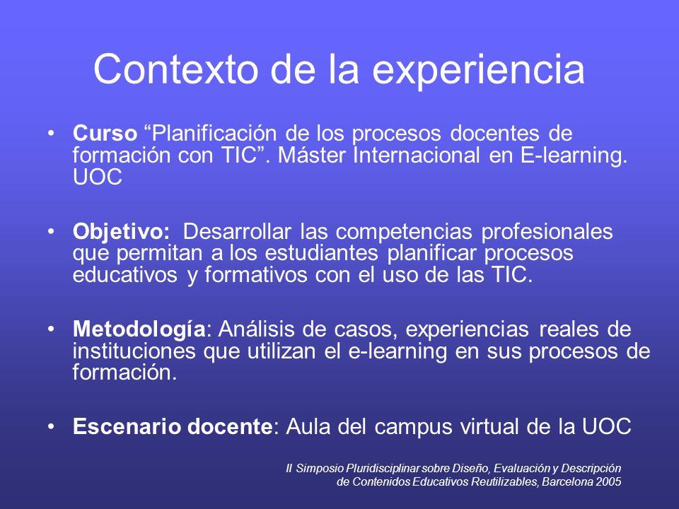 II Simposio Pluridisciplinar sobre Diseño, Evaluación y Descripción de Contenidos Educativos Reutilizables, Barcelona 2005 Contexto de la experiencia Curso Planificación de los procesos docentes de formación con TIC.