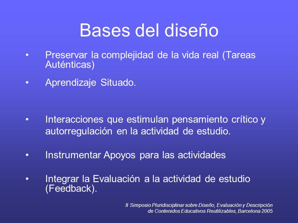 II Simposio Pluridisciplinar sobre Diseño, Evaluación y Descripción de Contenidos Educativos Reutilizables, Barcelona 2005 Bases del diseño Preservar la complejidad de la vida real (Tareas Auténticas) Aprendizaje Situado.