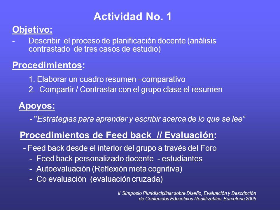 II Simposio Pluridisciplinar sobre Diseño, Evaluación y Descripción de Contenidos Educativos Reutilizables, Barcelona 2005 Actividad No. 1 Objetivo: -