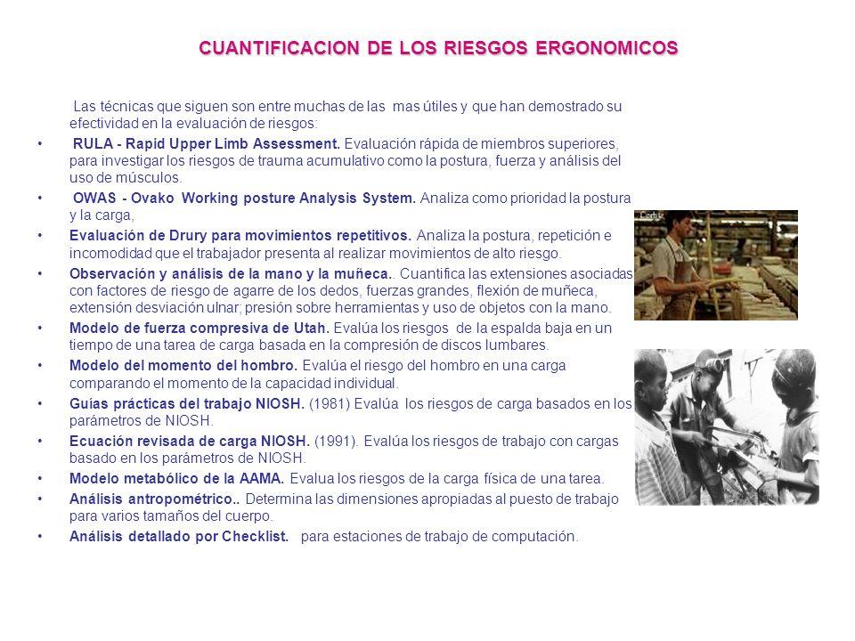 CUANTIFICACION DE LOS RIESGOS ERGONOMICOS Cuando la presencia de riesgos ergonómicos se ha establecido, el grado de riesgo asociado con todos los fact