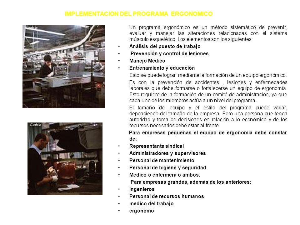 PREVENCION Y CONTROL DE RIESGOS ERGONOMICOS PREVENCION Y CONTROL DE RIESGOS ERGONOMICOS Actualmente están establecidos dos tipos de soluciones para re