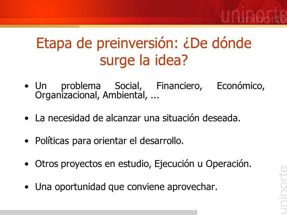 Etapa de preinversión: ¿De dónde surge la idea? Un problema Social, Financiero, Económico, Organizacional, Ambiental,... La necesidad de alcanzar una