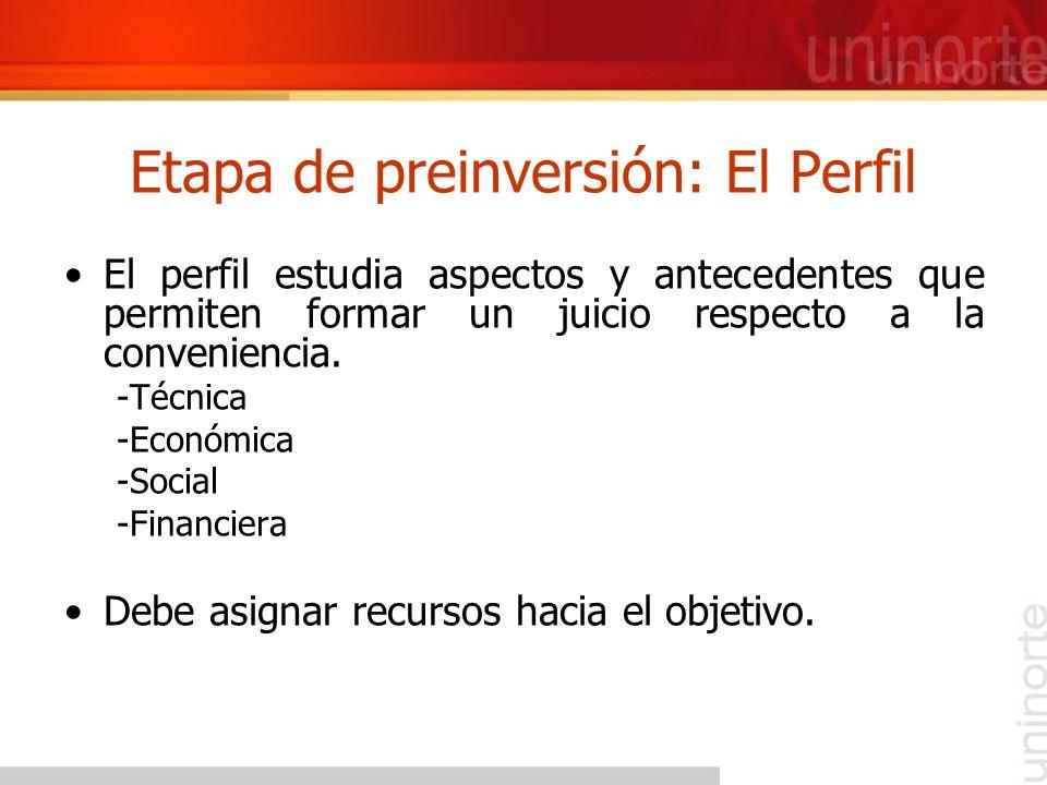 Etapa de preinversión: El Perfil El perfil estudia aspectos y antecedentes que permiten formar un juicio respecto a la conveniencia. -Técnica -Económi
