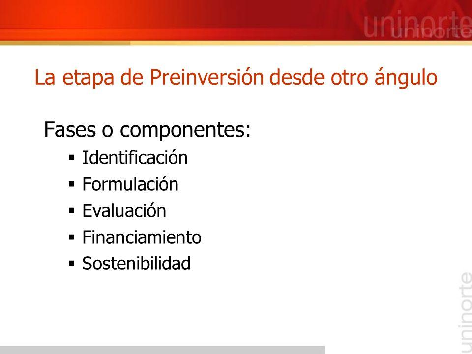 La etapa de Preinversión desde otro ángulo Fases o componentes: Identificación Formulación Evaluación Financiamiento Sostenibilidad