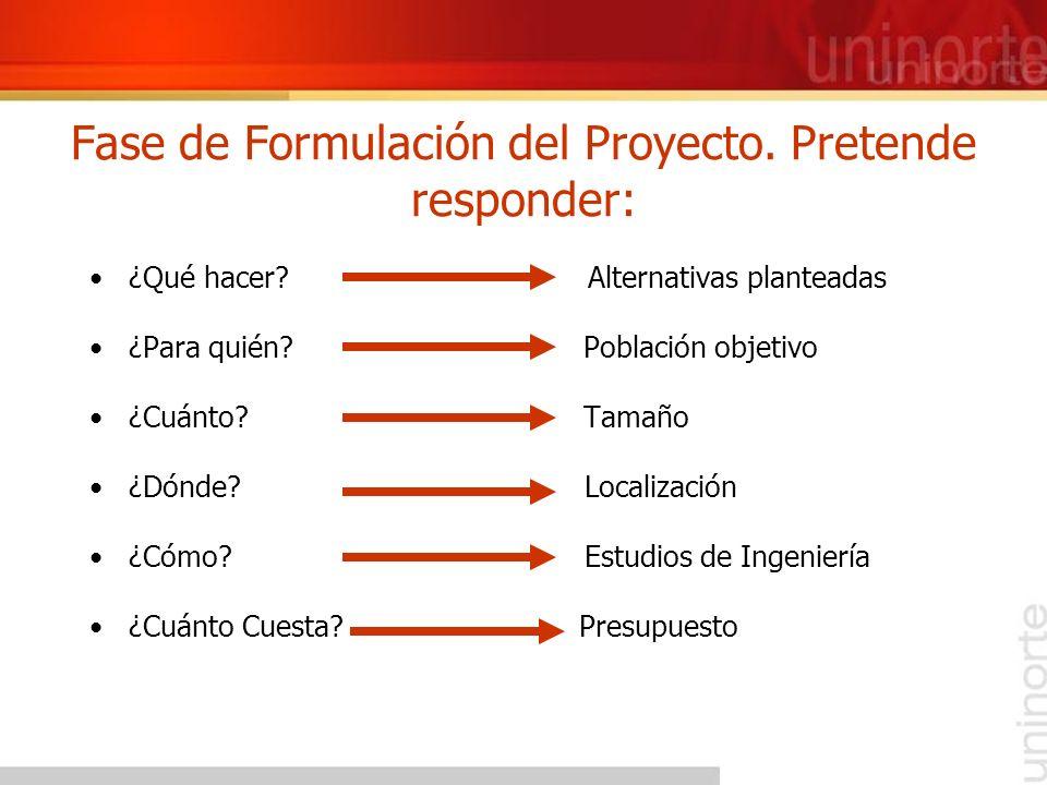 Fase de Formulación del Proyecto. Pretende responder: ¿Qué hacer? Alternativas planteadas ¿Para quién? Población objetivo ¿Cuánto? Tamaño ¿Dónde? Loca