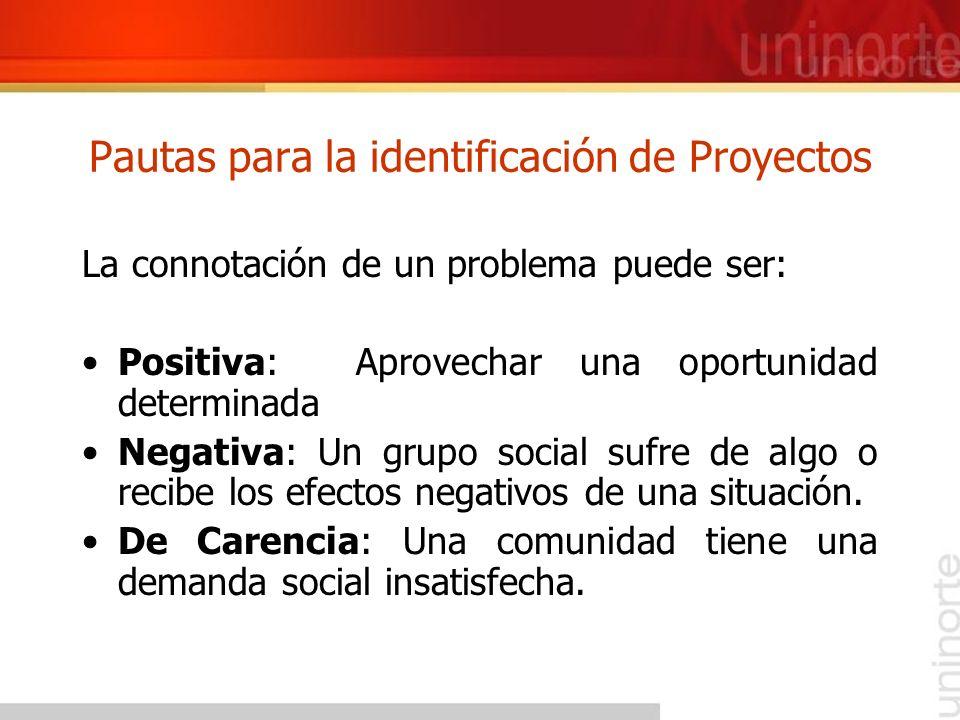 Pautas para la identificación de Proyectos La connotación de un problema puede ser: Positiva: Aprovechar una oportunidad determinada Negativa: Un grup