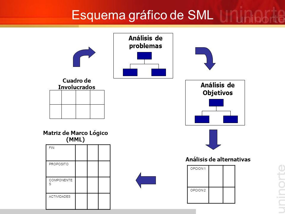 Esquema gráfico de SML Análisis de problemas Cuadro de Involucrados FIN PROPOSITO COMPONENTE S ACTIVIDADES Matriz de Marco Lógico (MML) OPCION 1 OPCIO