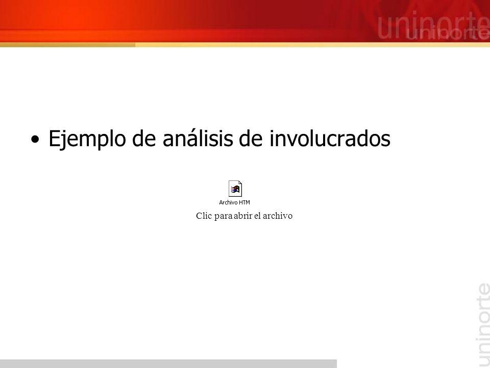 Ejemplo de análisis de involucrados Clic para abrir el archivo