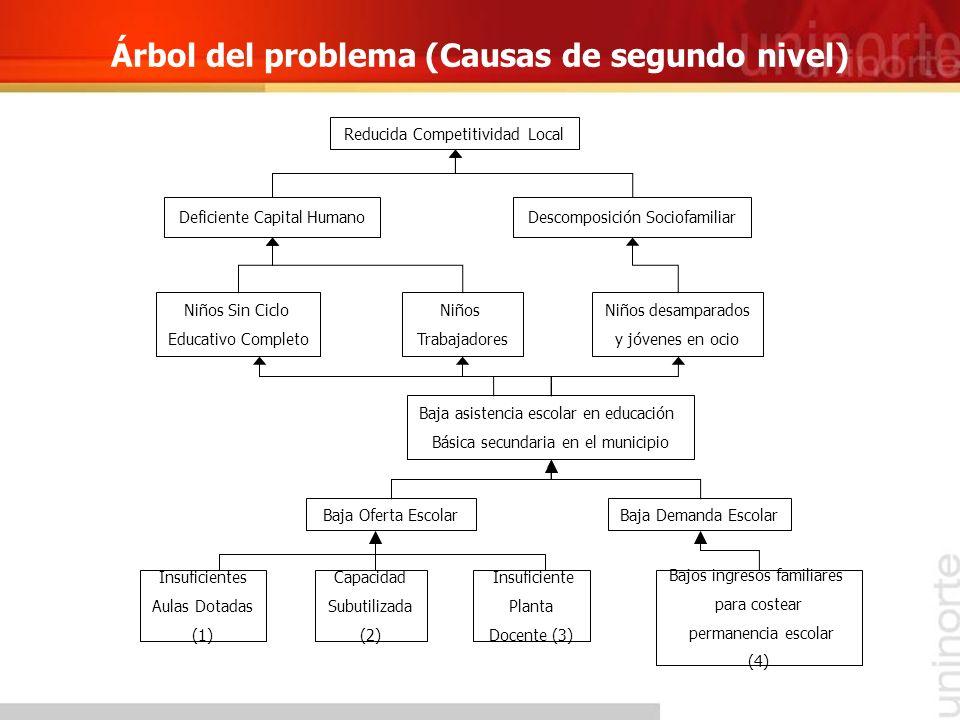 Árbol del problema (Causas de segundo nivel) Bajos ingresos familiares para costear permanencia escolar (4) Insuficientes Aulas Dotadas (1) Baja Deman