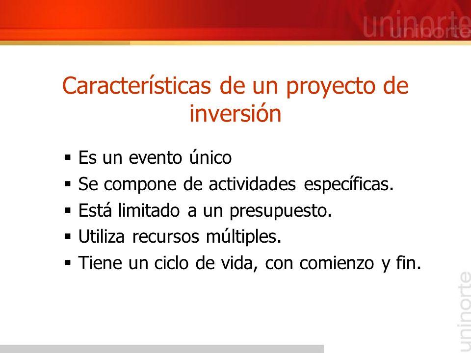 Características de un proyecto de inversión Es un evento único Se compone de actividades específicas. Está limitado a un presupuesto. Utiliza recursos