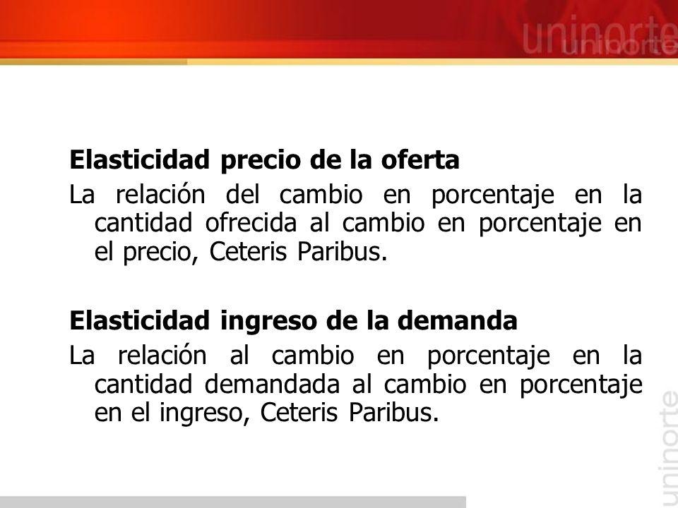 Elasticidad precio de la oferta La relación del cambio en porcentaje en la cantidad ofrecida al cambio en porcentaje en el precio, Ceteris Paribus. El
