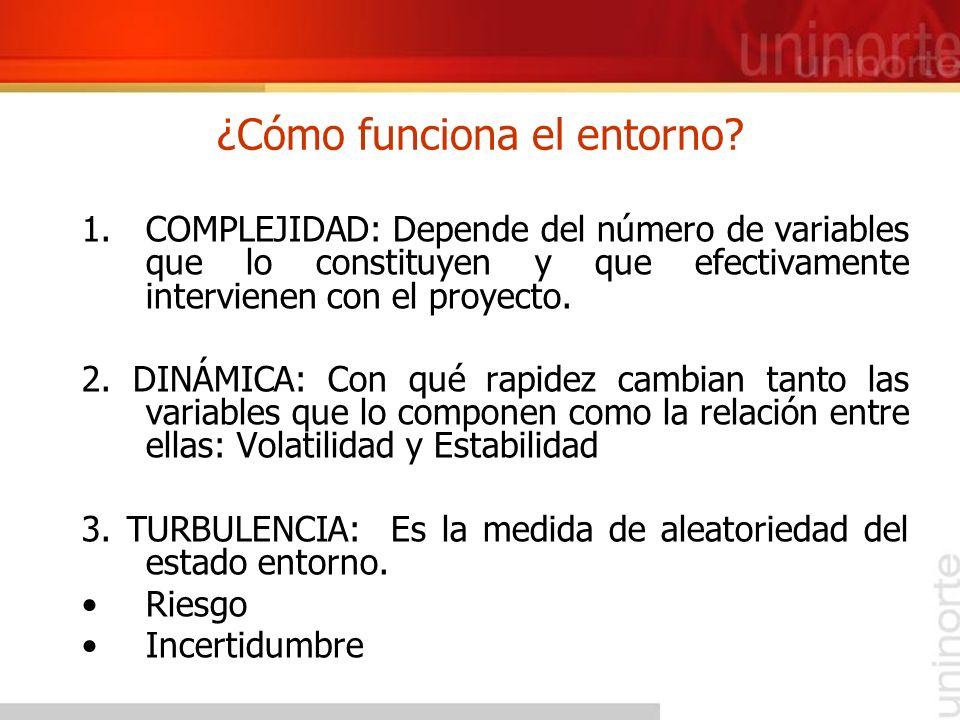 ¿Cómo funciona el entorno? 1.COMPLEJIDAD: Depende del número de variables que lo constituyen y que efectivamente intervienen con el proyecto. 2. DINÁM