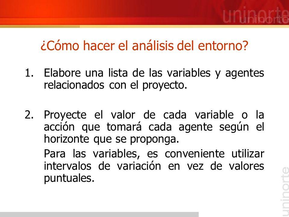 ¿Cómo hacer el análisis del entorno? 1.Elabore una lista de las variables y agentes relacionados con el proyecto. 2.Proyecte el valor de cada variable