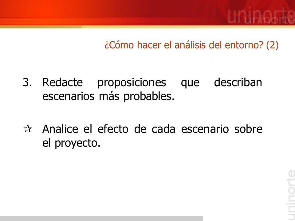 3.Redacte proposiciones que describan escenarios más probables. ¶Analice el efecto de cada escenario sobre el proyecto. ¿Cómo hacer el análisis del en