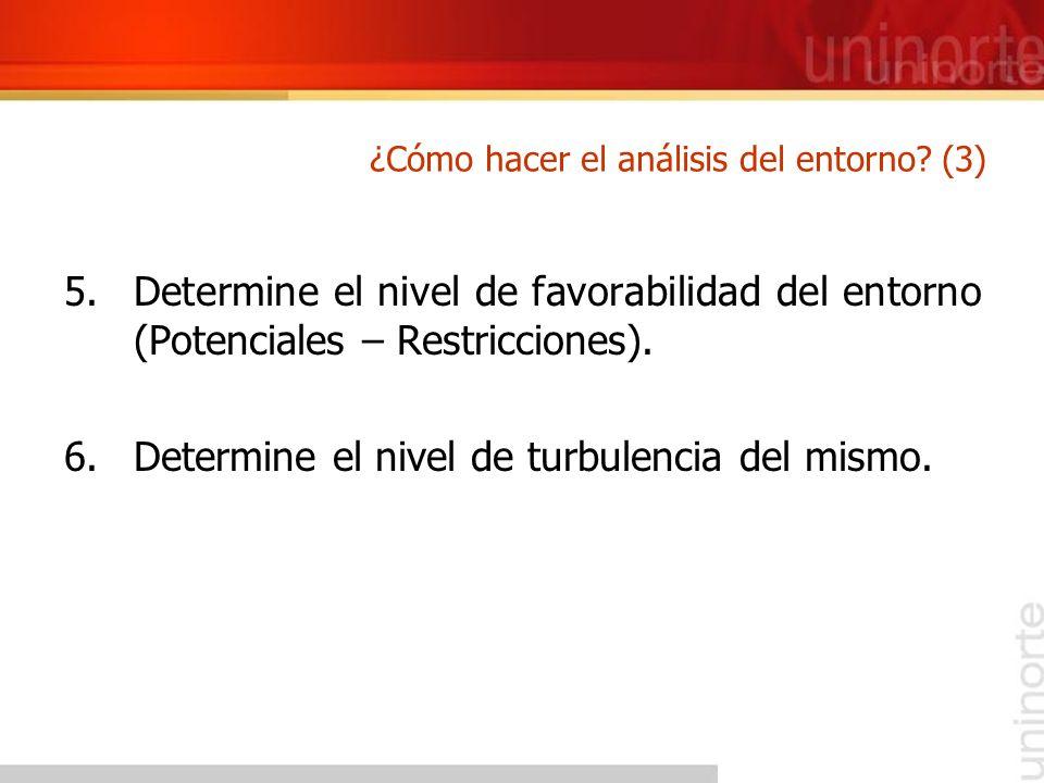 5.Determine el nivel de favorabilidad del entorno (Potenciales – Restricciones). 6.Determine el nivel de turbulencia del mismo. ¿Cómo hacer el análisi