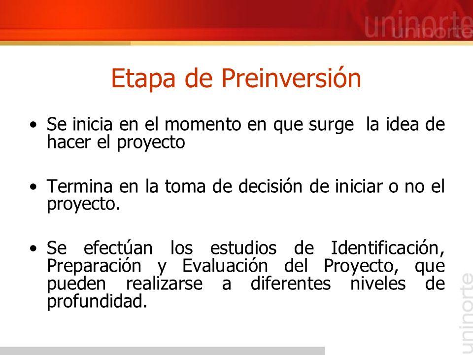 Etapa de Preinversión Se inicia en el momento en que surge la idea de hacer el proyecto Termina en la toma de decisión de iniciar o no el proyecto. Se
