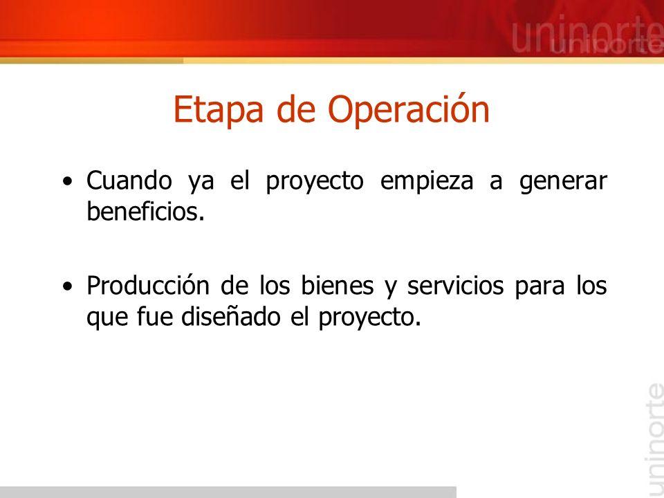Etapa de Operación Cuando ya el proyecto empieza a generar beneficios. Producción de los bienes y servicios para los que fue diseñado el proyecto.