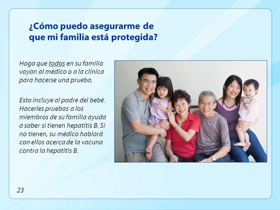 ¿Cómo puedo asegurarme de que mi familia está protegida? Haga que todos en su familia vayan al médico o a la clínica para hacerse una prueba. Esto inc