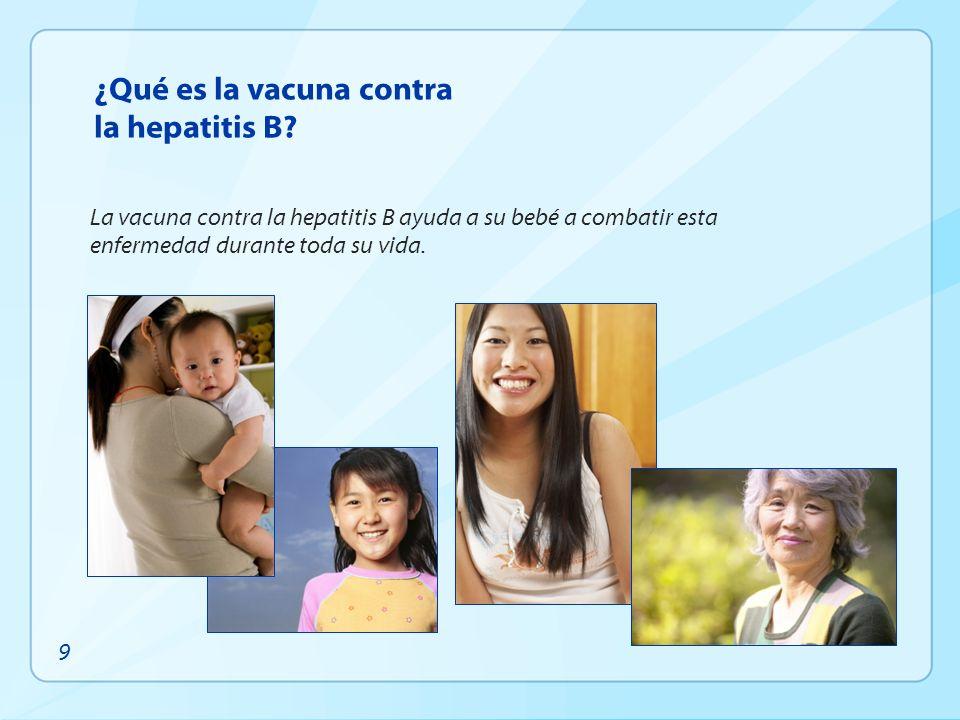 ¿Qué es la vacuna contra la hepatitis B? La vacuna contra la hepatitis B ayuda a su bebé a combatir esta enfermedad durante toda su vida. 9