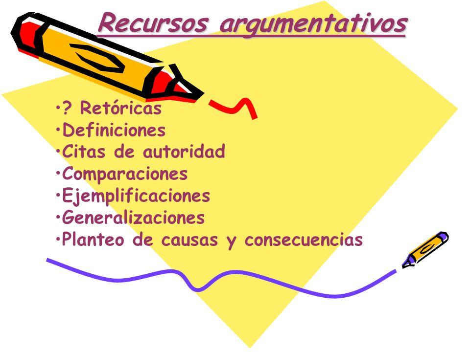 ? Retóricas Definiciones Citas de autoridad Comparaciones Ejemplificaciones Generalizaciones Planteo de causas y consecuencias Recursos argumentativos
