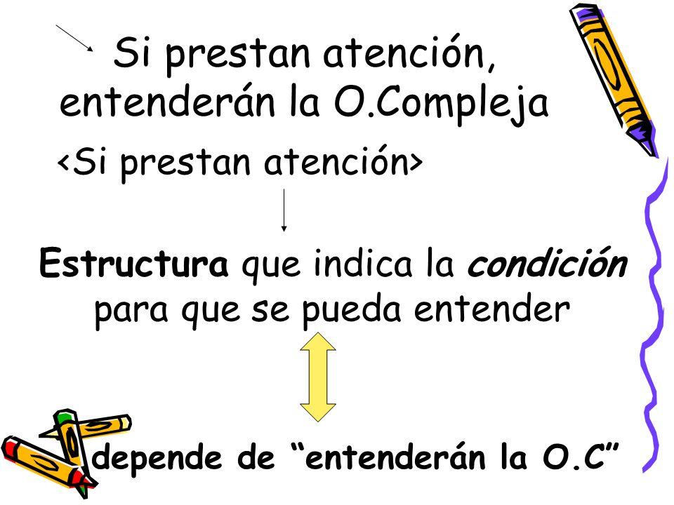 Si prestan atención, entenderán la O.Compleja Estructura que indica la condición para que se pueda entender depende de entenderán la O.C