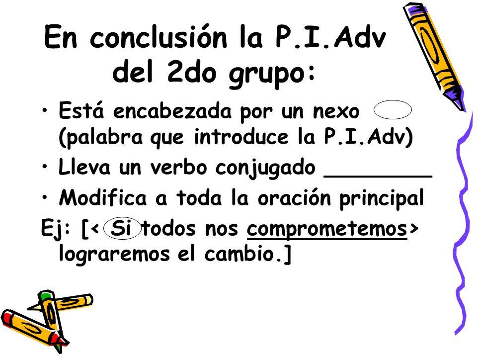 En conclusión la P.I.Adv del 2do grupo: Está encabezada por un nexo (palabra que introduce la P.I.Adv) Lleva un verbo conjugado ________ Modifica a to