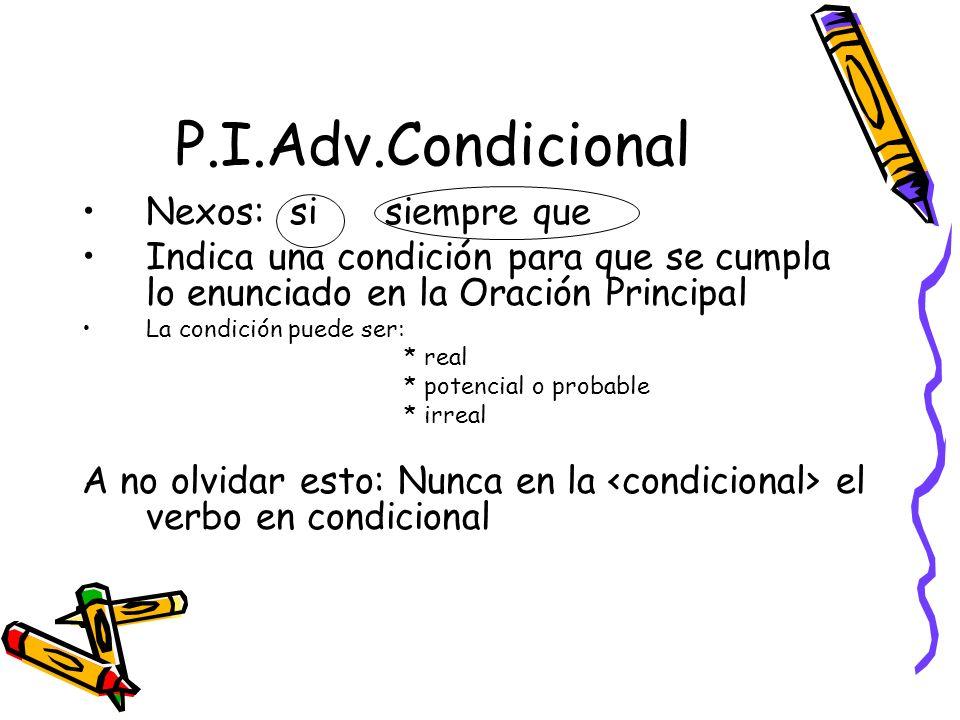 P.I.Adv.Condicional Nexos: si siempre que Indica una condición para que se cumpla lo enunciado en la Oración Principal La condición puede ser: * real