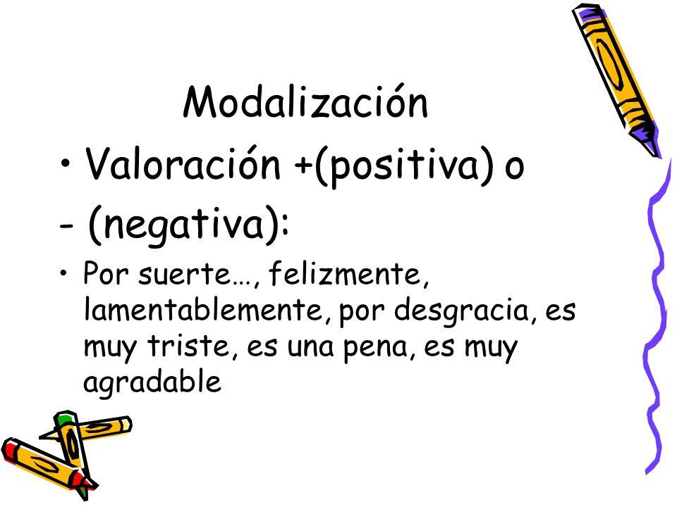 Modalización Valoración +(positiva) o - (negativa): Por suerte…, felizmente, lamentablemente, por desgracia, es muy triste, es una pena, es muy agrada