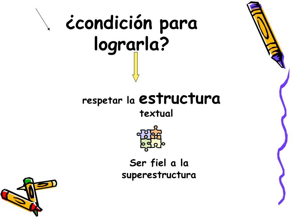 ¿condición para lograrla? respetar la estructura textual Ser fiel a la superestructura