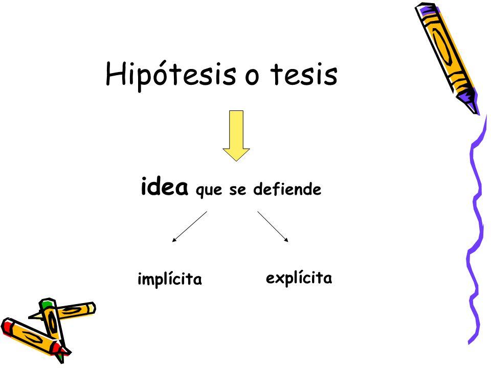 Hipótesis o tesis idea que se defiende implícita explícita