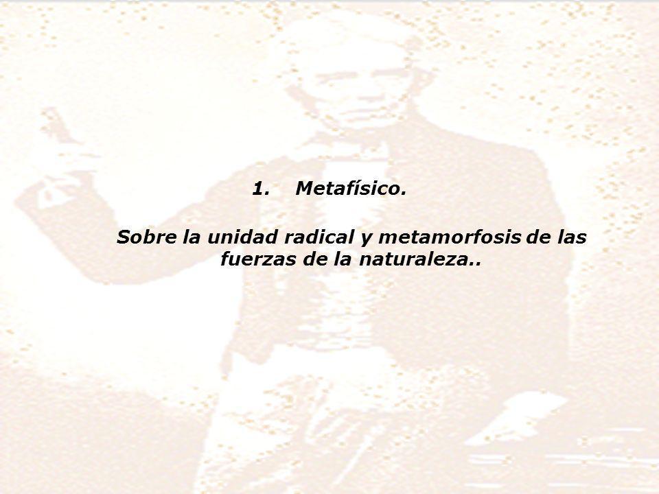 1.Metafísico. Sobre la unidad radical y metamorfosis de las fuerzas de la naturaleza..