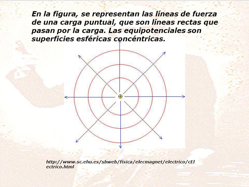 En la figura, se representan las líneas de fuerza de una carga puntual, que son líneas rectas que pasan por la carga.