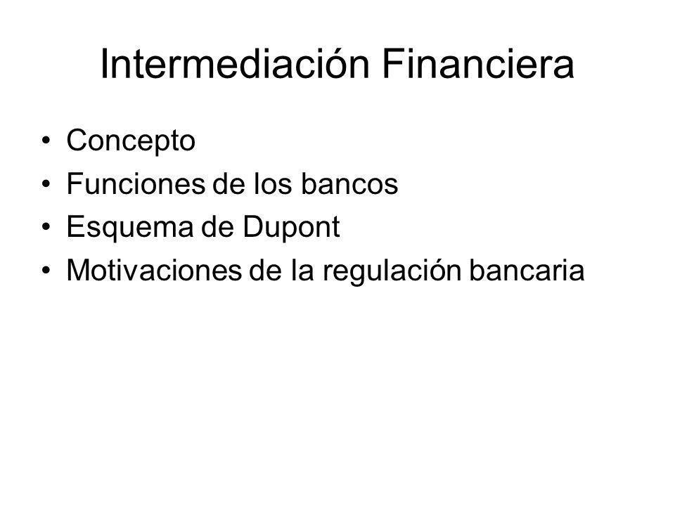 Intermediación Financiera Concepto Funciones de los bancos Esquema de Dupont Motivaciones de la regulación bancaria