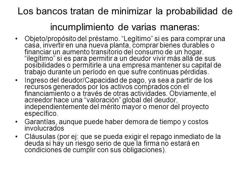 Los bancos tratan de minimizar la probabilidad de incumplimiento de varias maneras: Objeto/propósito del préstamo. Legítimo si es para comprar una cas