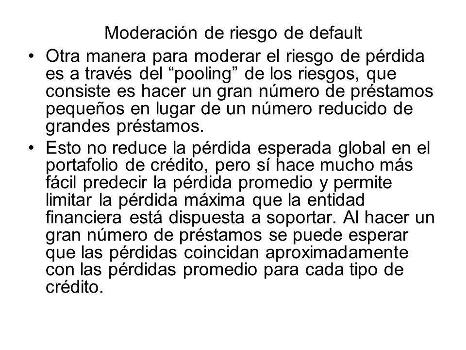 Moderación de riesgo de default Otra manera para moderar el riesgo de pérdida es a través del pooling de los riesgos, que consiste es hacer un gran nú