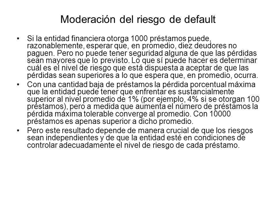 Moderación del riesgo de default Si la entidad financiera otorga 1000 préstamos puede, razonablemente, esperar que, en promedio, diez deudores no pagu