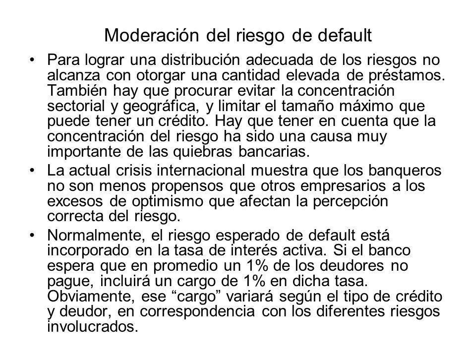 Moderación del riesgo de default Para lograr una distribución adecuada de los riesgos no alcanza con otorgar una cantidad elevada de préstamos. Tambié