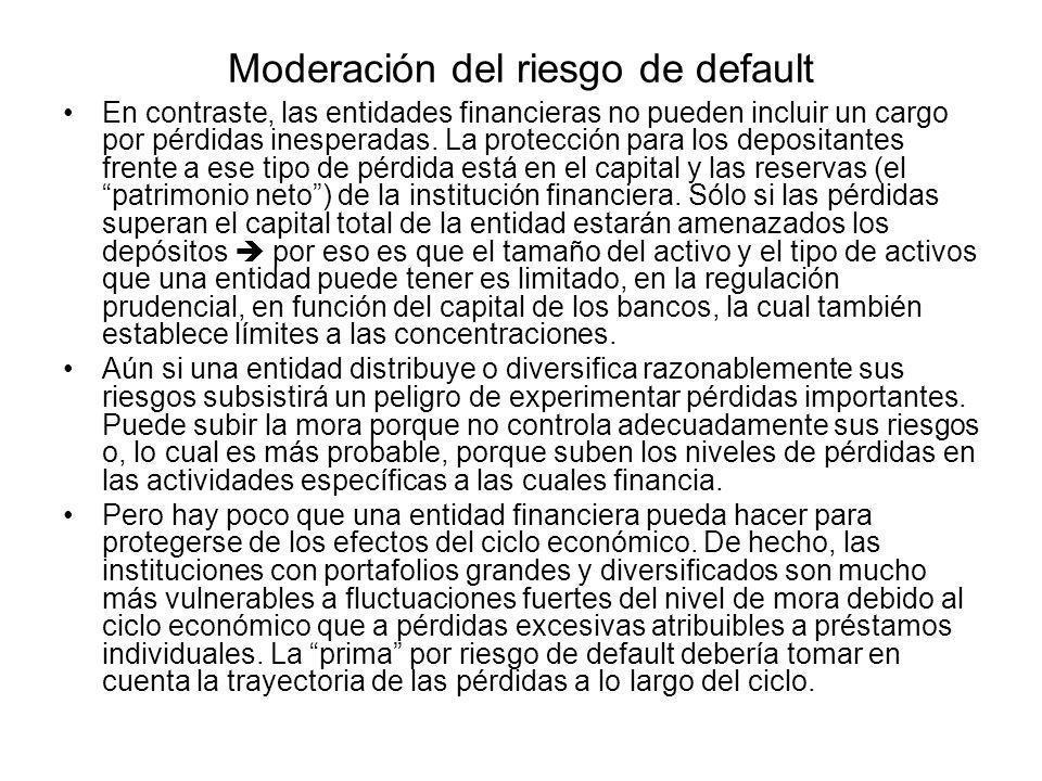 Moderación del riesgo de default En contraste, las entidades financieras no pueden incluir un cargo por pérdidas inesperadas. La protección para los d