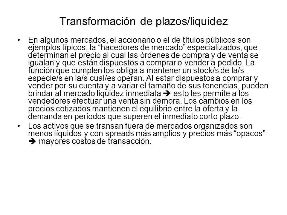 Transformación de plazos/liquidez En algunos mercados, el accionario o el de títulos públicos son ejemplos típicos, la hacedores de mercado especializ