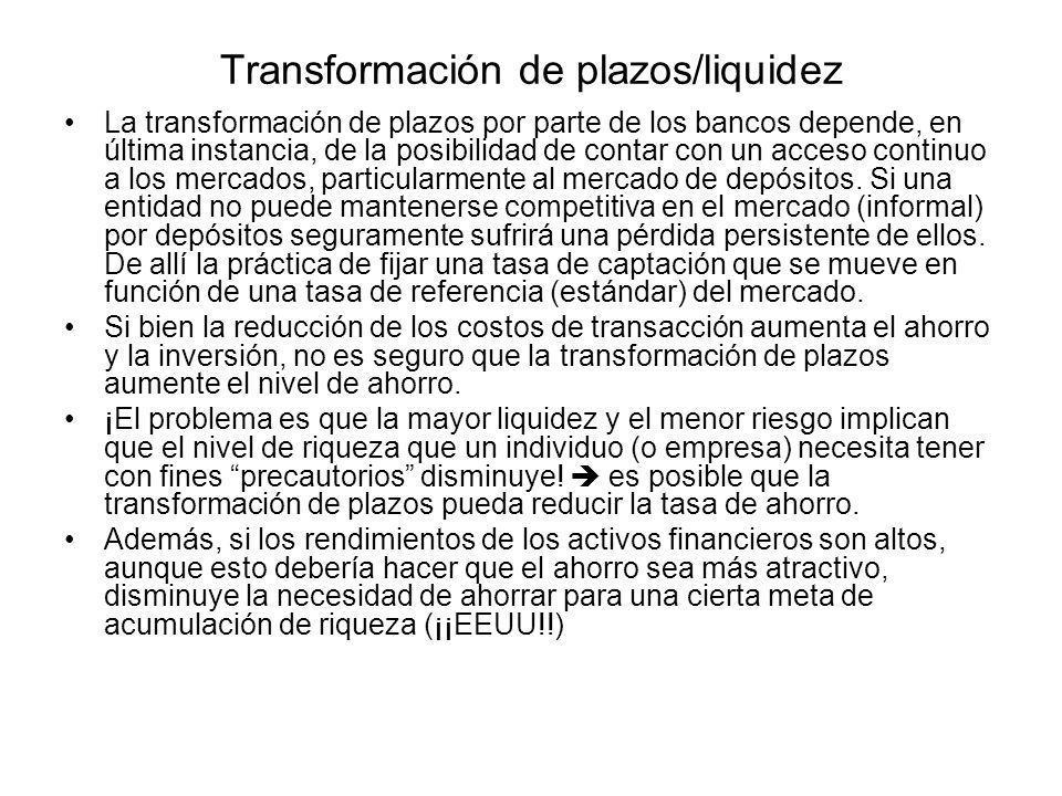 Transformación de plazos/liquidez La transformación de plazos por parte de los bancos depende, en última instancia, de la posibilidad de contar con un